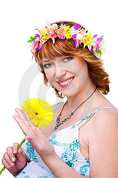 Beutiful Woman With Flower And Wreath Stock Photo - Image: 13798830