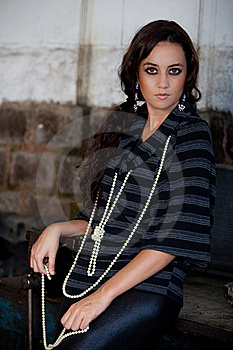 Fashion Shot In Auto Repair Shop. Royalty Free Stock Image - Image: 13800046