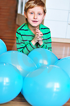 Boy With Blue Balloons Stock Image - Image: 13801991