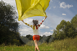 Woman In Sunny Day Runnig With Yellow Fabric Royalty Free Stock Images - Image: 13803329