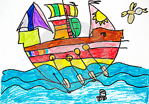 Colorful Ship With Oars And Sails Royalty Free Stock Photography - Image: 13804307