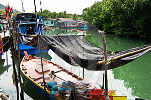 Fish Will Be Dried In A Fisherboat In A Small Fish Stock Photography - Image: 13804772