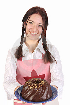 Housewife Showing Off Bundt Cake Royalty Free Stock Images - Image: 13806419
