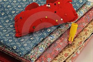 Fabric, Pincushion, And Chalk Stock Image - Image: 13810461