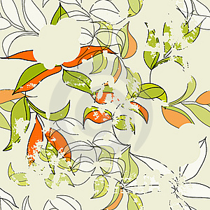 Retro Stylized Seamless  Pattern Royalty Free Stock Photos - Image: 13813108