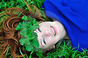 Redheaded Girl With Crown From Leaves Stock Images - Image: 13814054