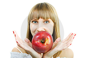 Young Beautiful Woman With A Red Apple Royalty Free Stock Image - Image: 13814446