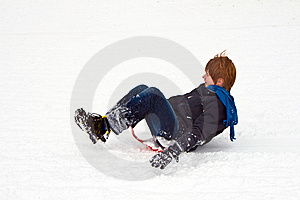 Child Sledding Down The Hill In Snow, White Winter Royalty Free Stock Images - Image: 13814709