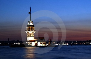 Istanbul Landmarks Maiden Tower At Twilight Royalty Free Stock Photography - Image: 13815127