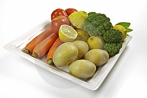 Vegables And Fruit In A Plate Stock Photos - Image: 13815303