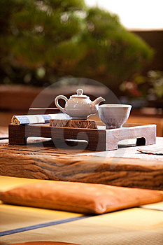 Asian Traditional Tea On An Old Rustic Table Royalty Free Stock Images - Image: 13815939
