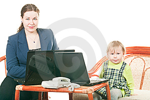 Daughter And Mother With Laptops Royalty Free Stock Images - Image: 13819499