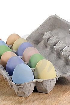 Colored Eggs In Carton Stock Photos - Image: 13824423