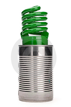 Green Compact Fluorescent Bulb In A Tin Can Stock Image - Image: 13825931