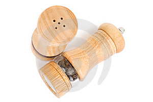 Wooden Saltcellar And Mill For Pepper Over White Stock Image - Image: 13826701