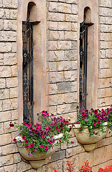 Building Windows And Flower Parterre Royalty Free Stock Image - Image: 13827356