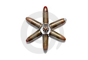 Six-pointed Star Of 9mm Cartridges Isolated Royalty Free Stock Photos - Image: 13828418
