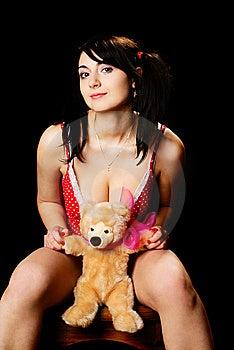 Girl With Plush Bear. Stock Photo - Image: 13832960