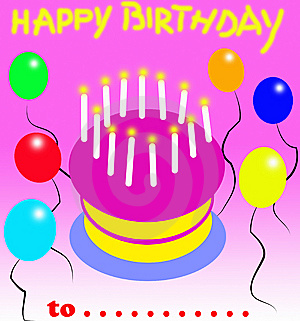 Happy Birthday Card With Balloons Royalty Free Stock Image - Image: 13833376