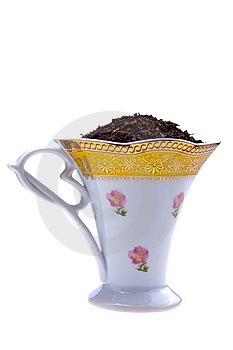 Selected Dry Black Tea Leaves In Beautifull Cup Royalty Free Stock Photography - Image: 13836047