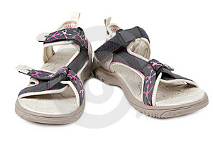 Pair Feminine Sandals Royalty Free Stock Photos - Image: 13836618