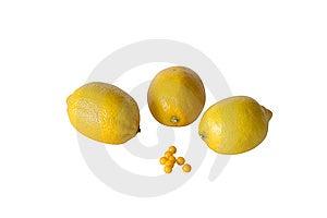 Lemons And Vitamins On White  Background Royalty Free Stock Photography - Image: 13838657