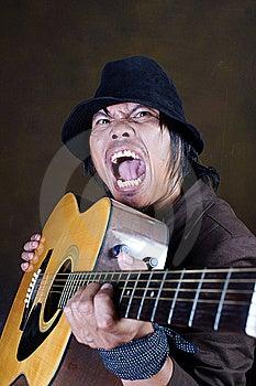 Crazy Guitar Man Musician Stock Photography - Image: 13843312