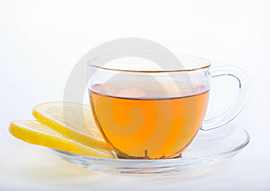 Glass Cup Of Tea With Two Lemons Stock Images - Image: 13847114