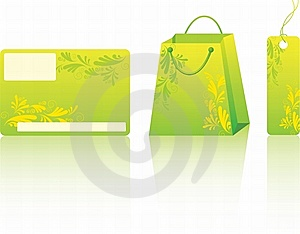 Green Shopping Set Stock Photos - Image: 13847463