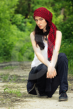 Girl In A Red Kerchief Royalty Free Stock Photo - Image: 13847685