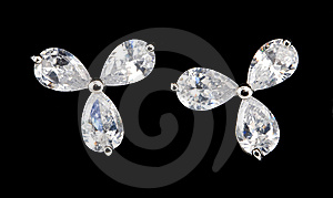 Silver Earrings With Diamonds Royalty Free Stock Photography - Image: 13849187
