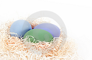 Colored Eggs In Nest Stock Image - Image: 13854461