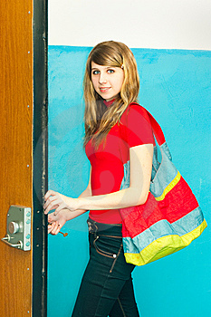 The Girl Opens The Lock A Key Stock Photography - Image: 13855092