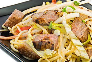 Noodles And Three Kinds Of Meat Stock Images - Image: 13856704