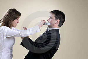 Angry Wife Gluing His Partner Mouth Stock Photography - Image: 13857862