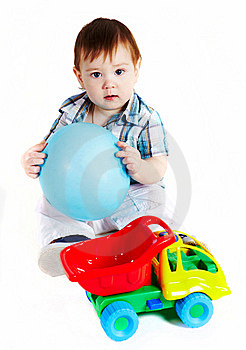 Boy With Baloon And Toy Truck Royalty Free Stock Photos - Image: 13858768