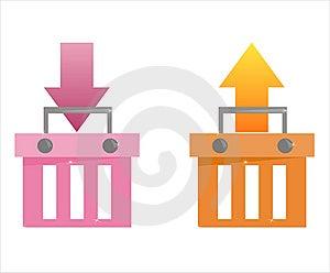 Set Of 2 Baskets Icons Stock Image - Image: 13858811