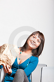 Happy Smiling  Woman Looking Up Stock Image - Image: 13860501