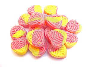 Pink And Yellow Sugar Candies Stock Image - Image: 13860601