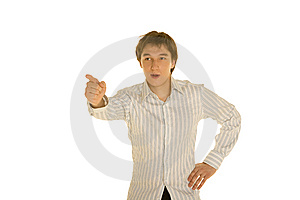 Man In Shirt Gestures Royalty Free Stock Photography - Image: 13862047