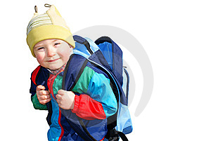 The Boy Is Unbuttoned Empty Backpack, Insulated Royalty Free Stock Photography - Image: 13863017