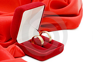 Red Box With Two Gold Wedding Rings Royalty Free Stock Photos - Image: 13864428