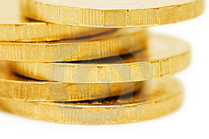 Golden Coins Isolated Over White Stock Photography - Image: 13864492