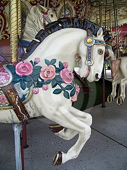 Rose Covered Carousel Horse Stock Images - Image: 13865034