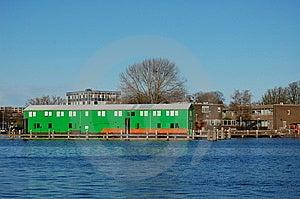 Green Barn At The Water Royalty Free Stock Photos - Image: 13866208