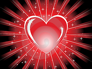 Red Shiny Heart With Rays,  Illustration Stock Images - Image: 13870324