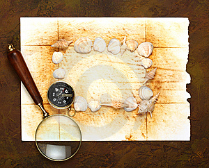 Compass And Old Page Royalty Free Stock Photo - Image: 13870615