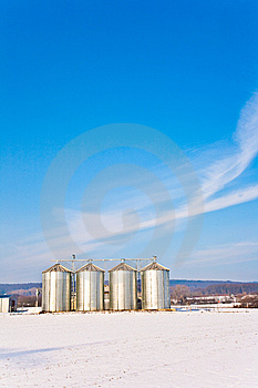 Beautiful Landscape With Silo And Snow Stock Images - Image: 13870894