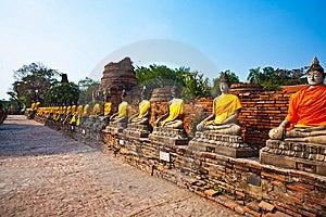 Buddha Statues At The Temple Of Wat Yai Chai Mongk Royalty Free Stock Photography - Image: 13871607