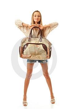 A Menina Bonita Nova Com Um Saco Fotos de Stock - Imagem: 13872603